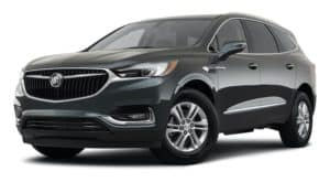 A black 2021 Buick Enclave is angled left