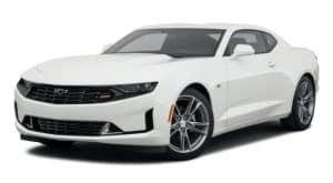 A white 2021 Chevy Camaro 1LT RS is angled left.