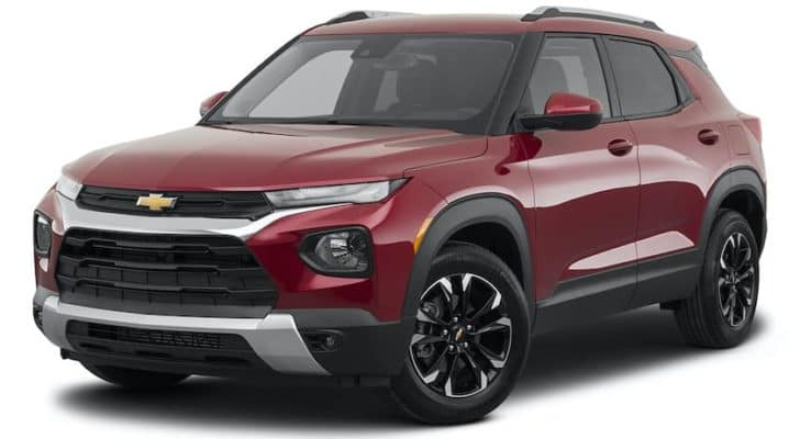 A red 2021 Chevy Trailblazer LT is angled left.