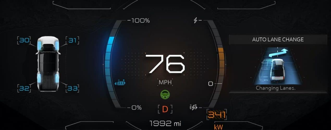The gauges are shown in a 2022 GMC Hummer EV Pickup.