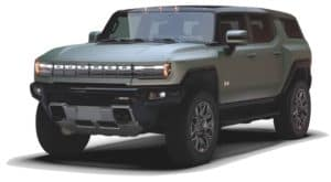A green 2023 GMC Hummer EV SUV is angled left.