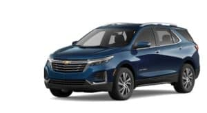 A blue 2022 Chevy Equinox is shown angled left.