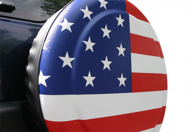 jeep wheel cover american flag