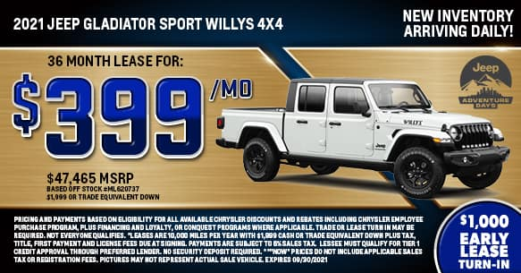 2021 Jeep Gladiator Sport Willys 4X4 Lease Special
