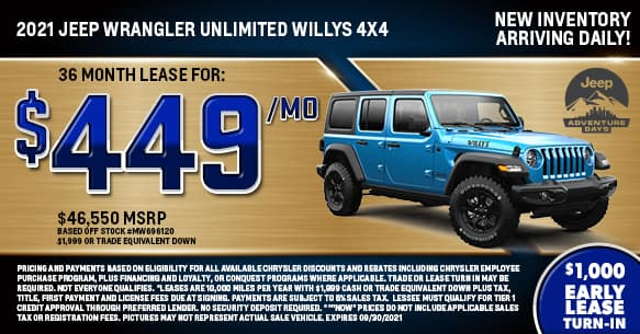 2021 Jeep Wrangler Unlimited Willys 4x4 Lease Offer