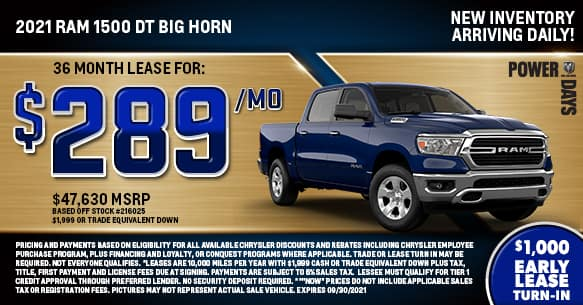 2021 Ram 1500 DT Bighorn 4x4 Lease Offer