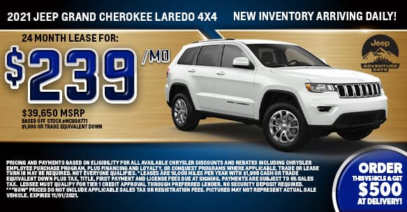 2021 Jeep Grand Cherokee Laredo 4x4 Lease Offer