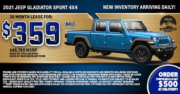 2021 Jeep Gladiator Sport 4x4 Lease Offer