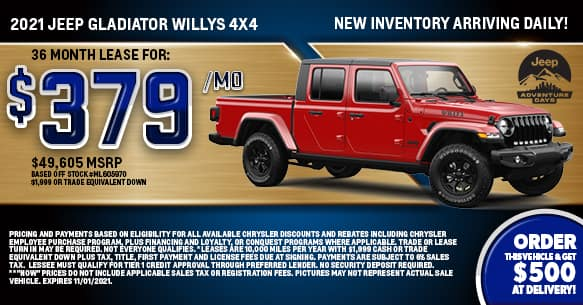 2021 Jeep Gladiator Willys 4x4 Lease Offer