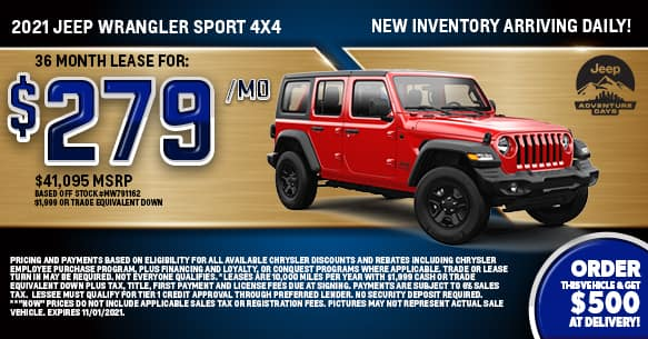 2021 Jeep Wrangler Sport 4x4 Lease Offer