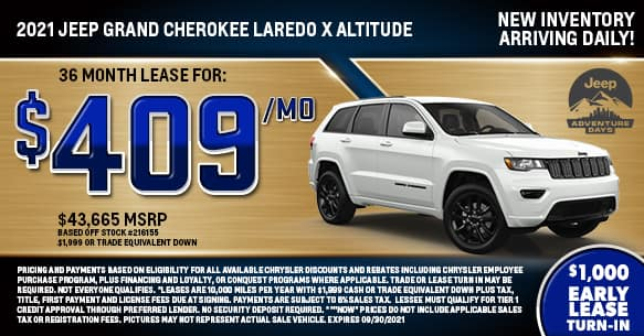 2021 Jeep Grand Cherokee Altitude 4x4 Lease Offer