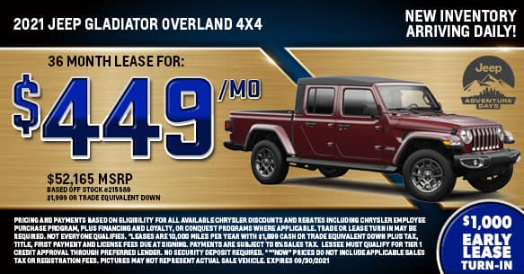 2021 Jeep Gladiator Overland Lease Special