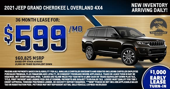 2021 Jeep Grand Cherokee L Overland Lease Offer