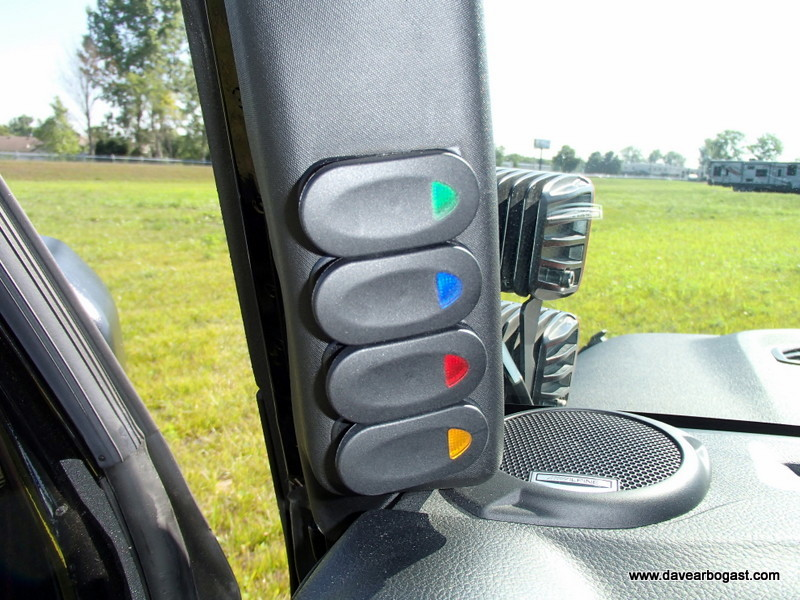Custom Jeep A Pillar Off Road Lighting Switches