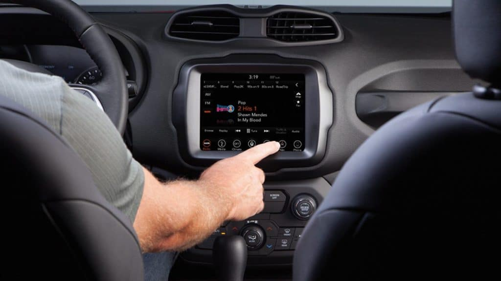 interior of a 2020 Jeep renegade with uconnect available now at david dodge of glenn mills