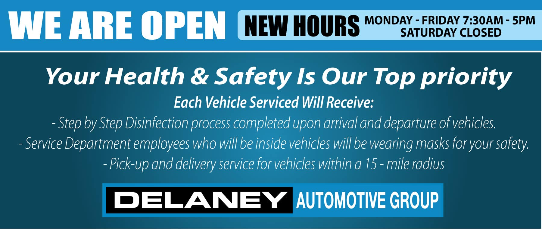 We are open at Delaney Honda