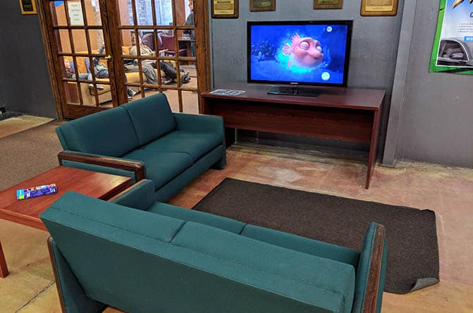 dempsey waiting area with cartoons