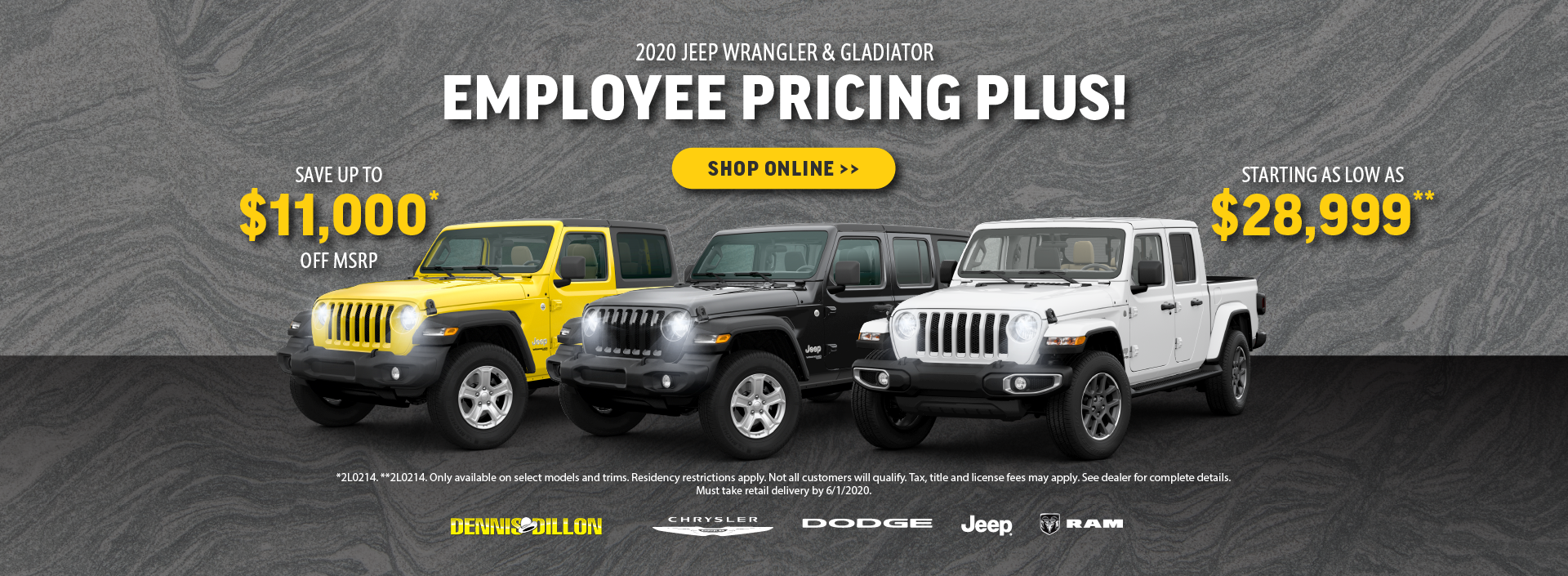 2020 Jeep Wrangler and Gladiator Offer