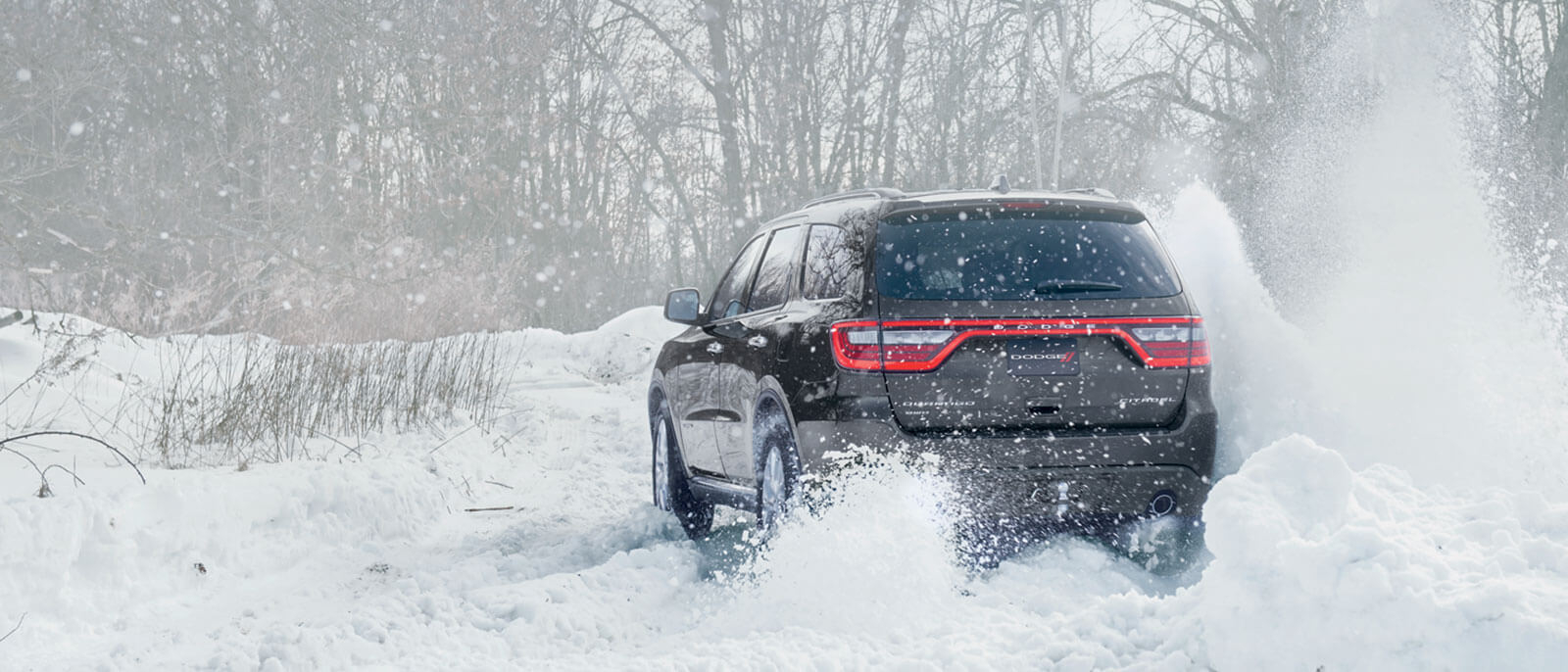 2016 Dodge Durango back view winter scene