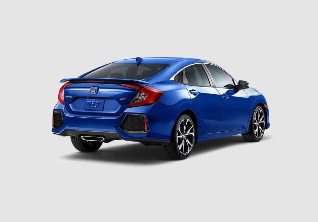 2017 Honda Civic Si Sedan Exterior Rear Angle Blue