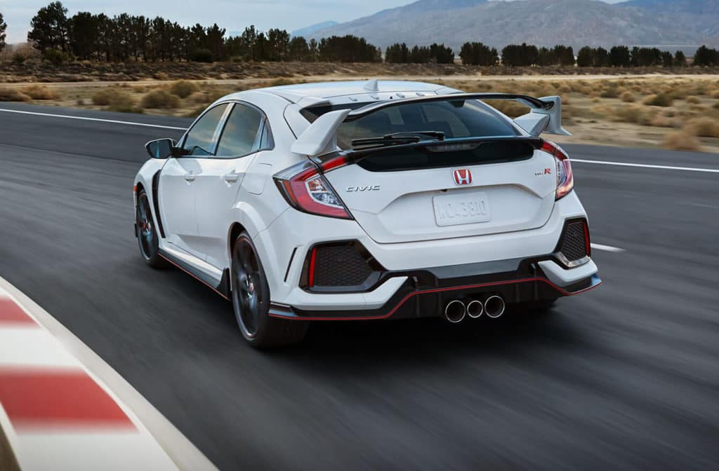 2018 Honda Civic Type R Exterior Rear Angle Driver Side