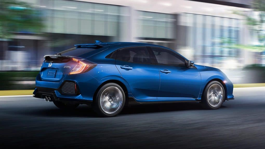 2019 Honda Civic Hatchback Blue Driving