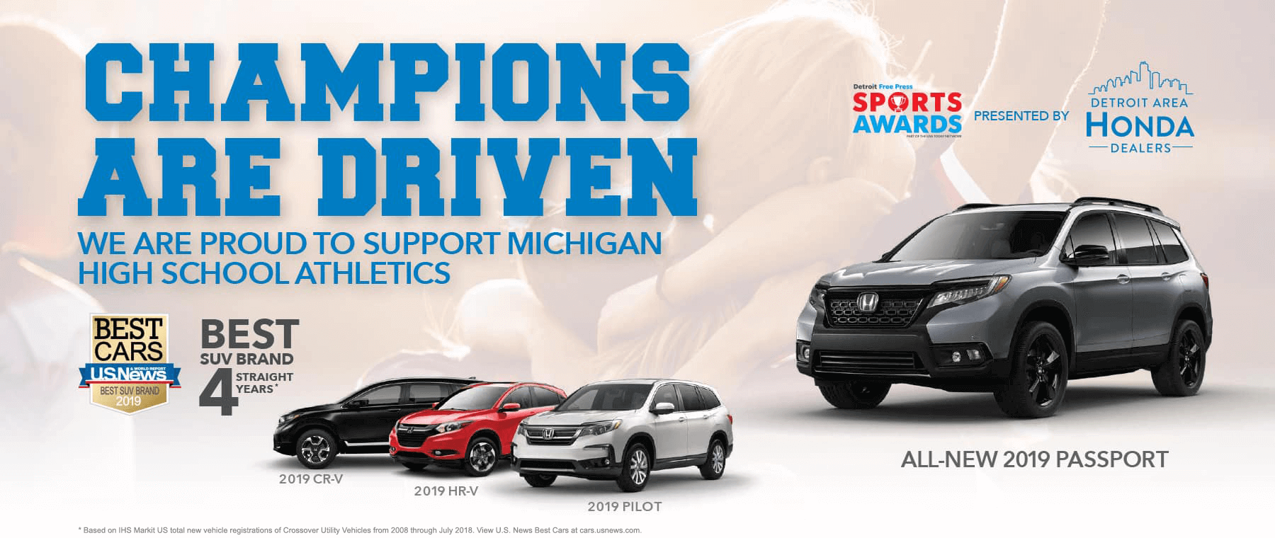 Champions Are Driven: Honda U.S. News Best SUV Brand HP Slide