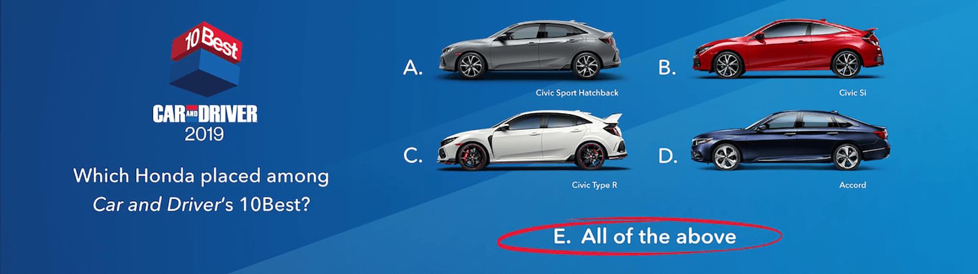 Honda 2019 Car and Driver 10Best Slider