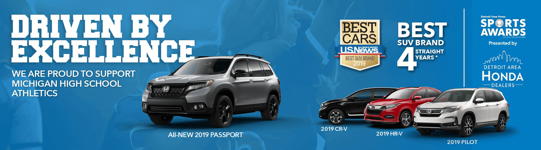 Honda 2019 Best SUV Brand Detroit Free Press Sports Awards Banner