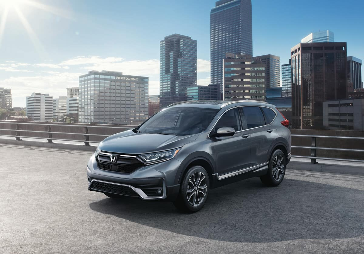 Gray 2020 Honda CR-V Touring parked in a city
