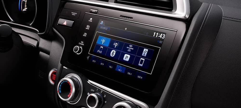 Close on infotainment console of 2020 Honda Fit