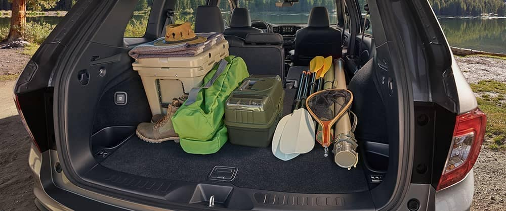 Full trunk of 2020 Honda Passport with fishing gear