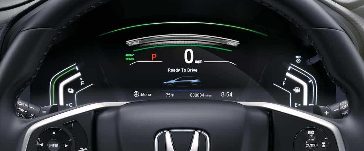 Close on 2020 Honda CR-V Hybrid wheel with EV ready signal