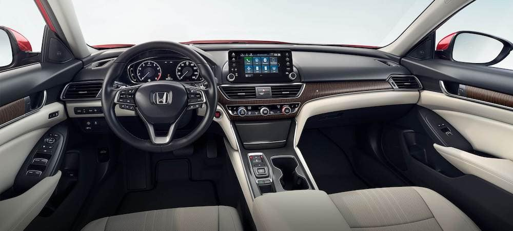 Interior of the 2020 Honda Accord sedan with leather front seats