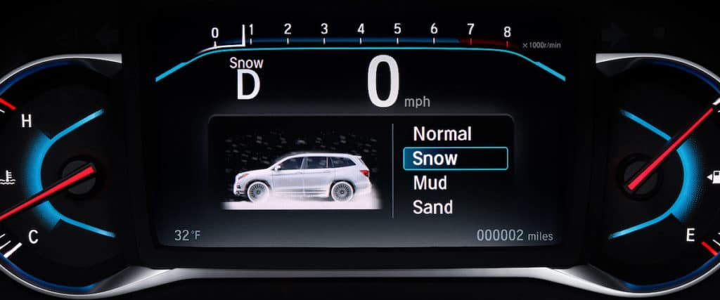 Close on 2021 Honda Pilot Intelligent Traction Management dashboard showing options for driving modes