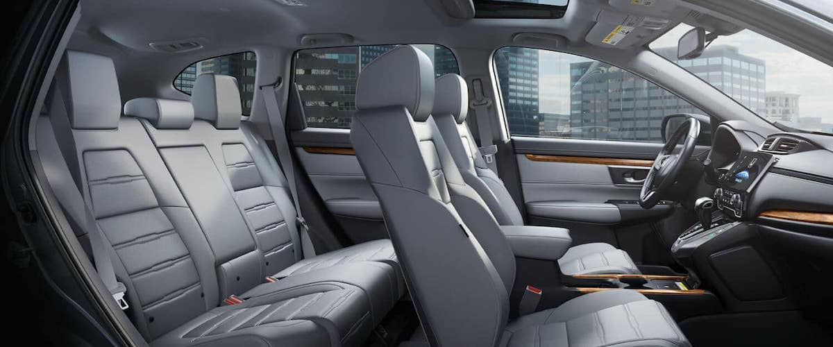 Side view of 2020 Honda CR-V interior with empty seats