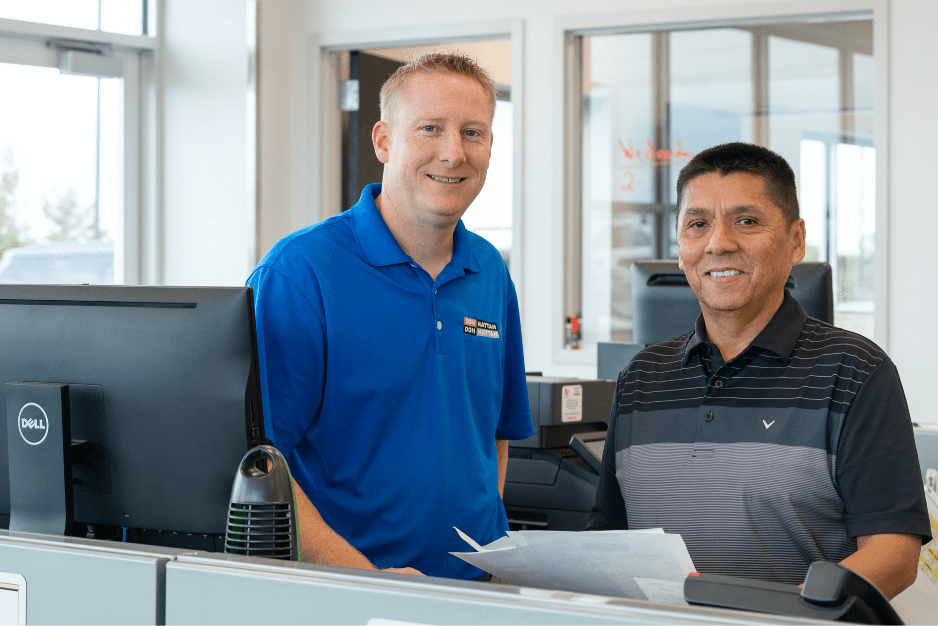 Finance salesman meets with customer