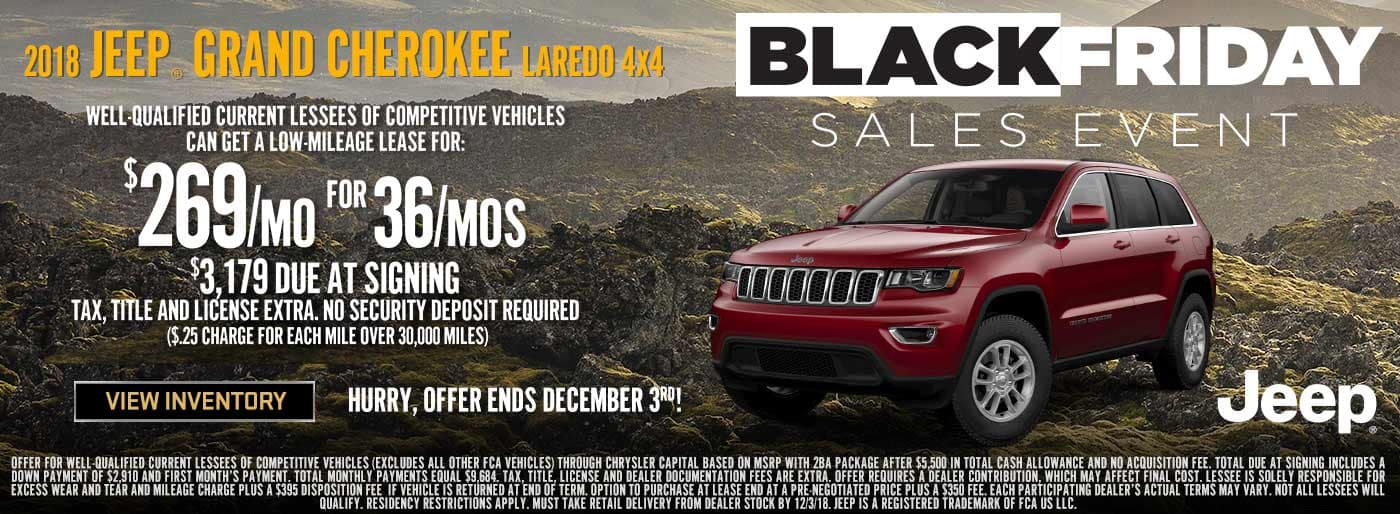 Lease a 2018 Jeep Grand Cherokee Laredo at Downtown Auto Group!
