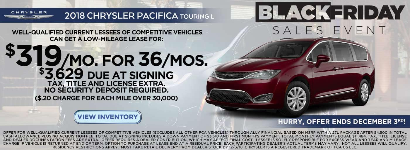 Lease a 2018 Chrysler Pacifica Touring L at Downtown Auto Group