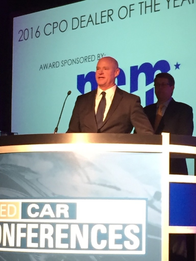 The 2016 CPO dealer of the year speaking on stage