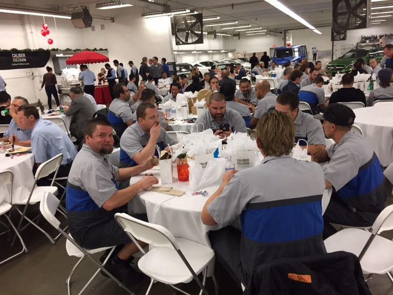 FJ Service Crew at Caliber Collision Holiday Luncheon