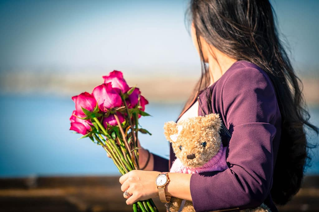 Valentine's Day Roses, Mercedes-Benz Rose Gold Watch, Herrington Teddy Bear Pink
