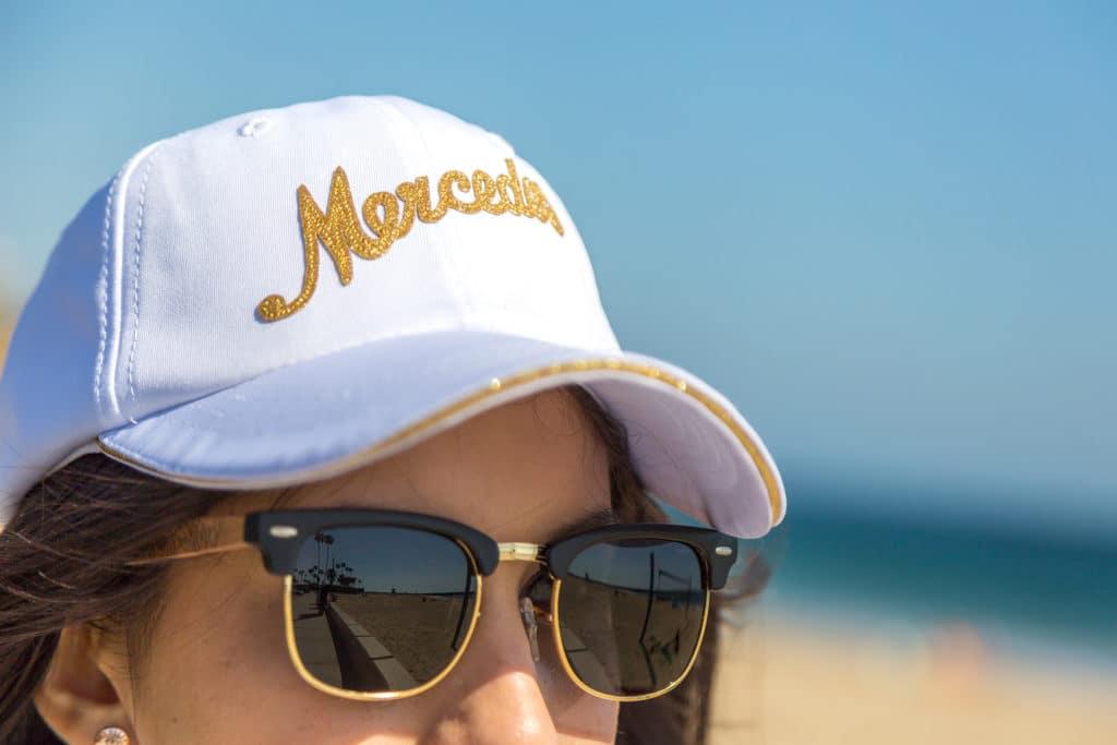 gold script Mercedes cap