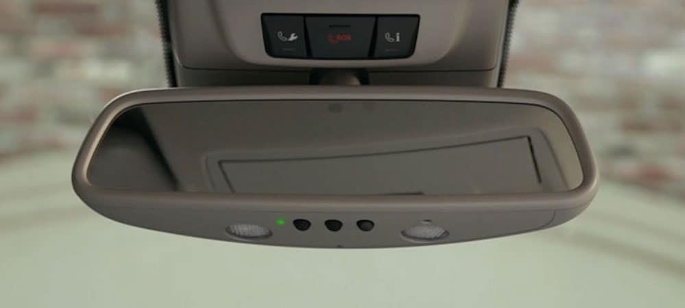 Mercedes-Benz garage door opener on rearview mirror