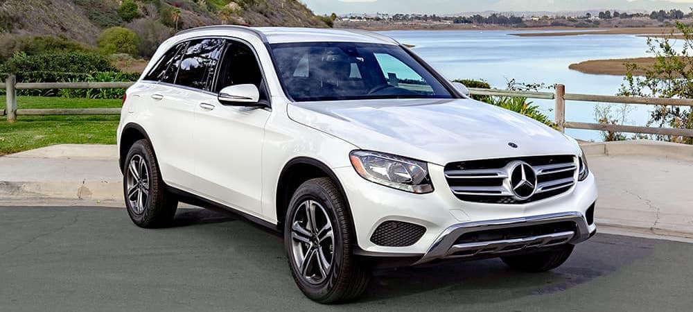 White Mercedes-Benz GLC parked