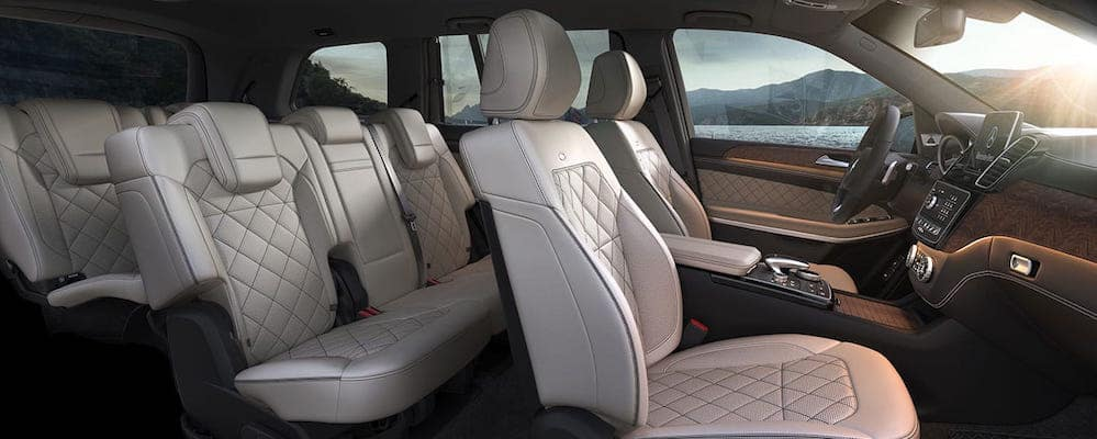 Cream-colored leather seats inside cabin of 2019 Mercedes-Benz GLS