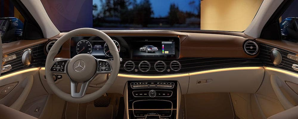Front seat area of 2020 E-Class Sedan facing dash