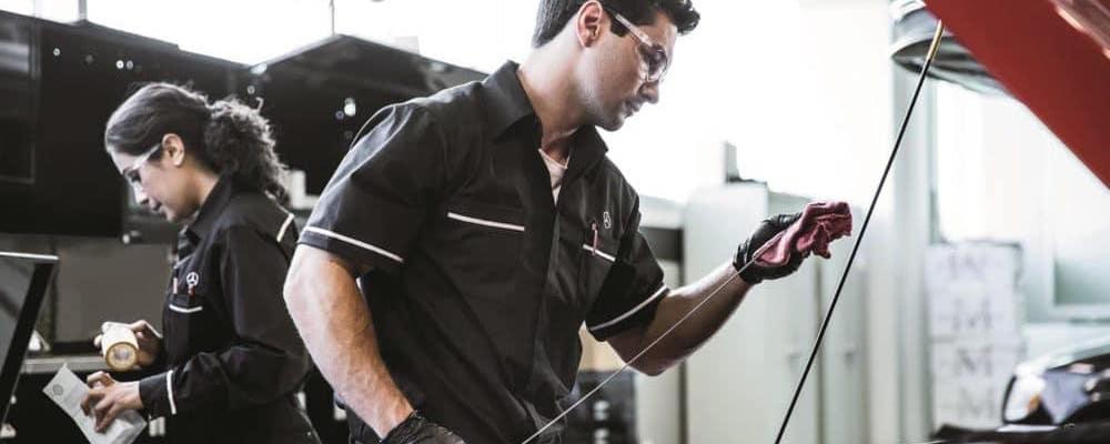 Mercedes-Benz technician performing Service A
