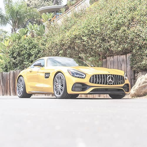 yellow MB convertible