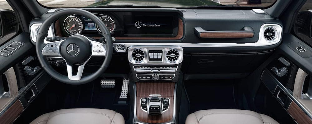 Front seat view of 2019 G-Class interior and dashboard